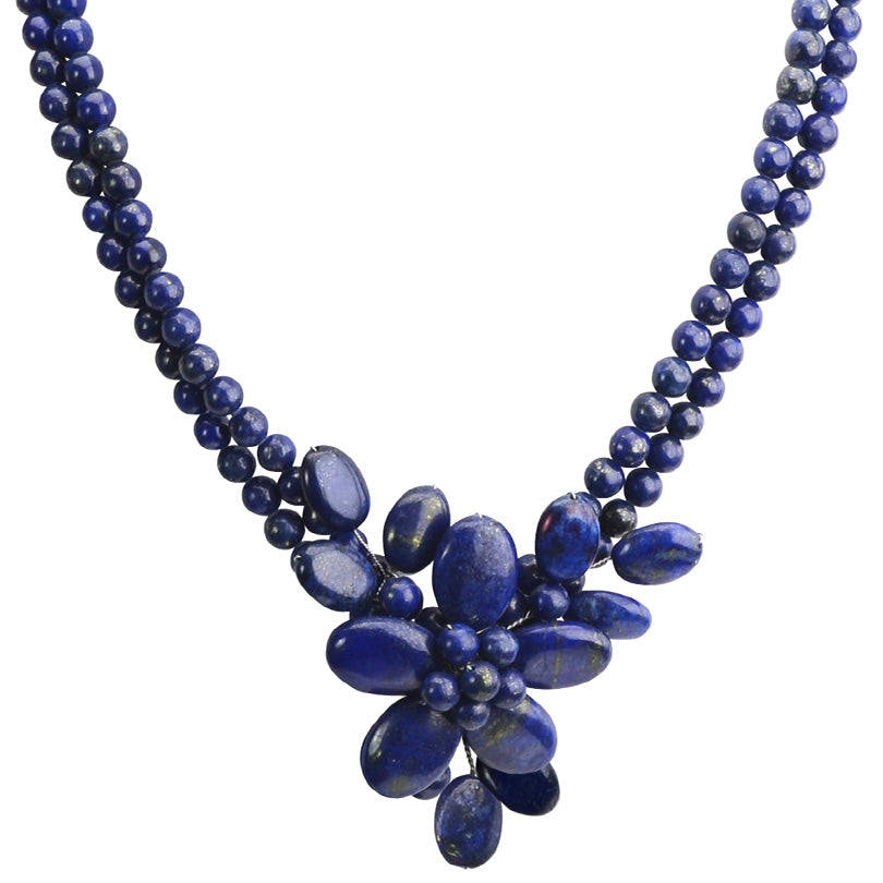 Navy Blue Lapis Flower Sterling Silver Necklace