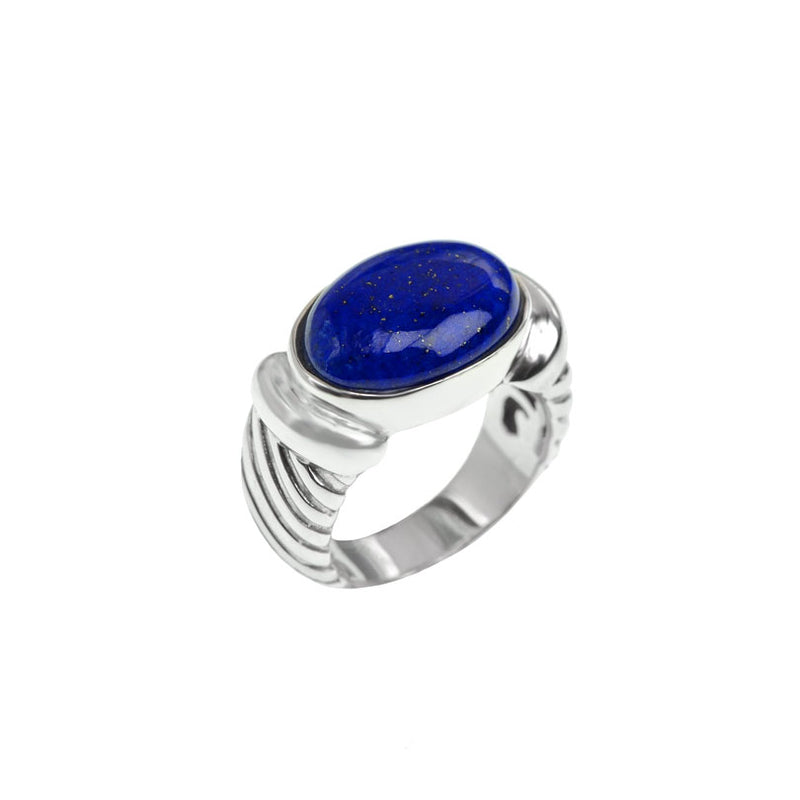 Fabulous Lapis Ribbed Sterling Silver Ring