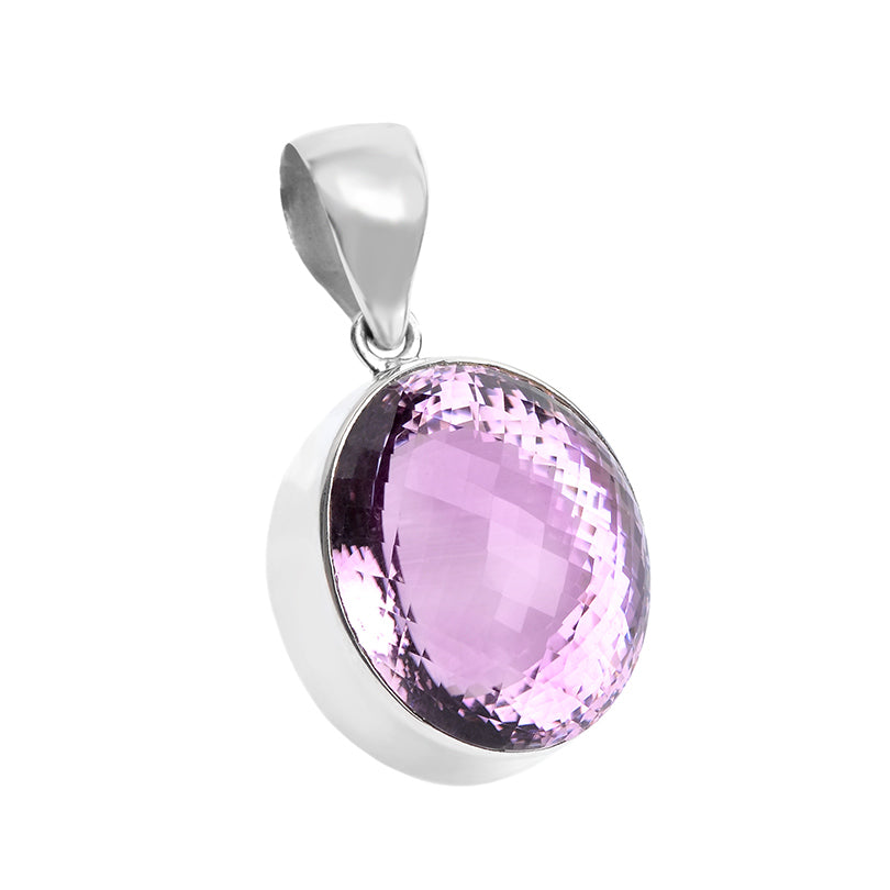 Fine Cushion-Cut Large Brazilian Amethyst Stone Sterling Silver Pendant
