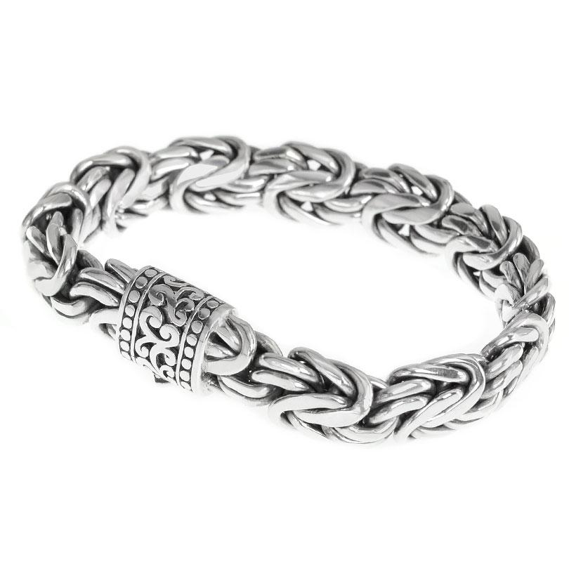 Sterling Silver 15mm Borobadur Bali Bracelet with Dotted Filigree Barrel Clasp