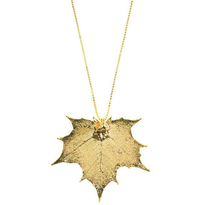 24kt Gold Saturated Real Leaf on Italian Gold Plated Sterling Silver Chain