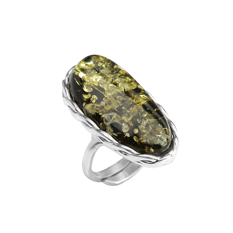 Sparkling Green Baltic Amber Sterling Silver Ring