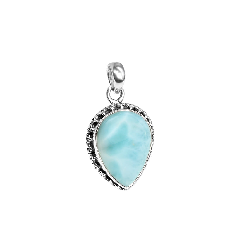 Dramatic Larimar with Fancy Silver Design Pendant