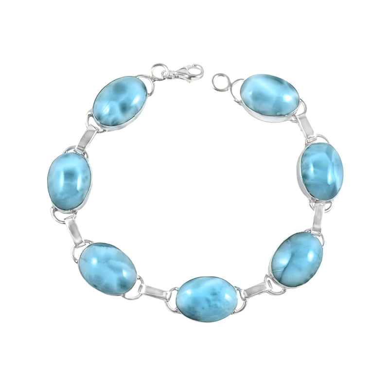 Beautiful Blue Larimar Sterling Silver Statement Bracelet with Lobster Clasp