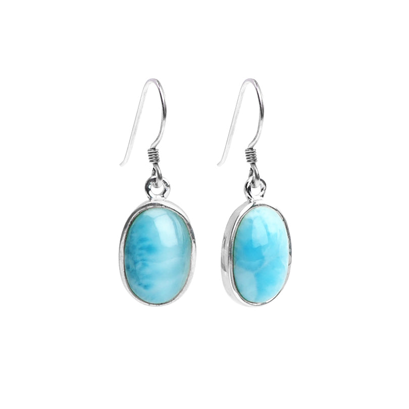 Gorgeous Larimar Sterling Silver Earrings