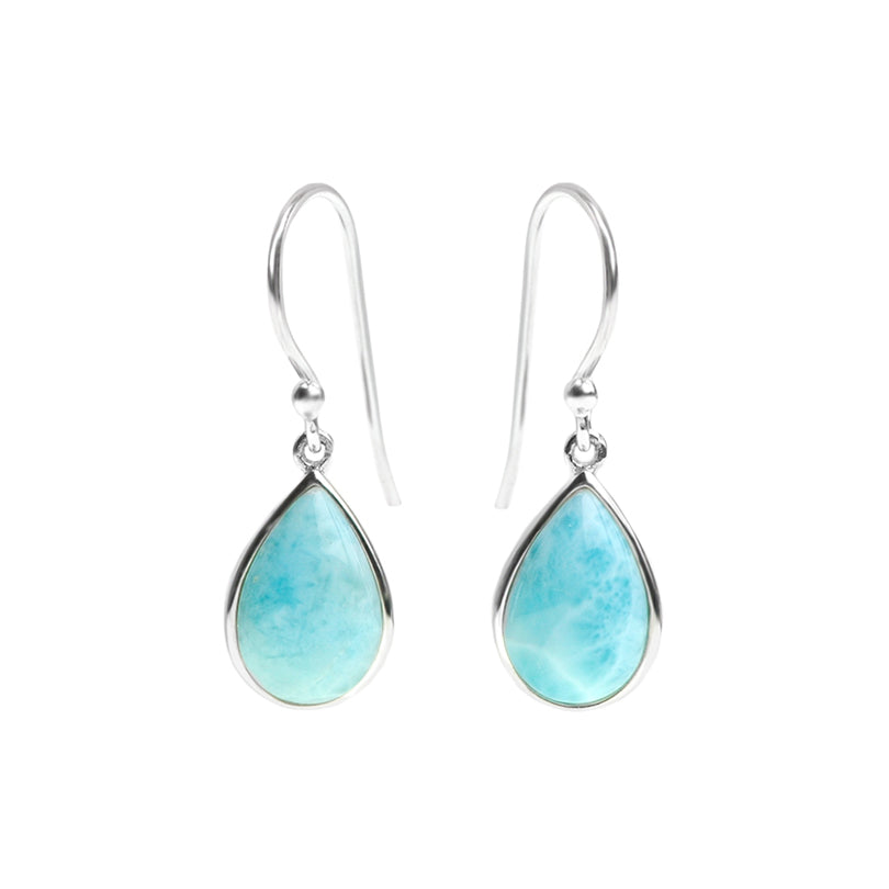 Beautiful Petite Larimar Teardrop Sterling Silver Earrings