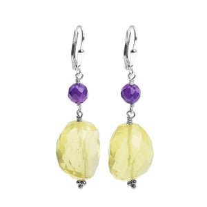 Sterling Silver Lemon Quartz Amethyst Earrings