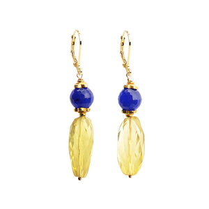 Royal Colors Fit for a Queen! Faceted Lemon Quartz and Blue Agate Gold Filled Lever-Back Earrings