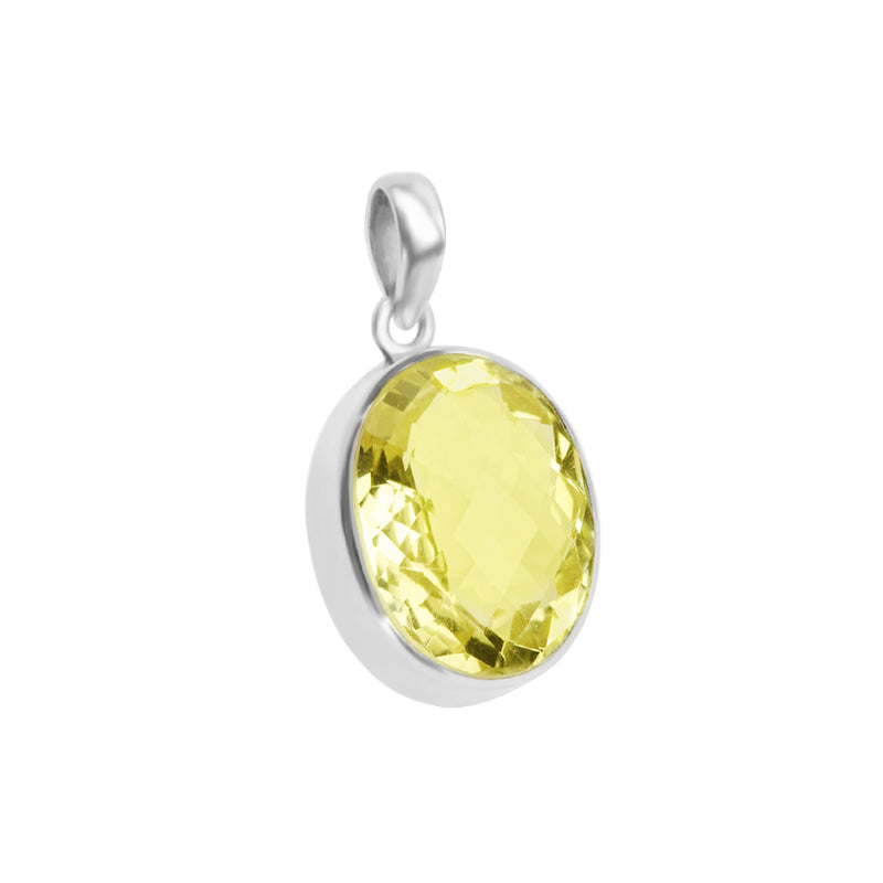 Radiant Lemon Quartz Sterling Silver Pendant