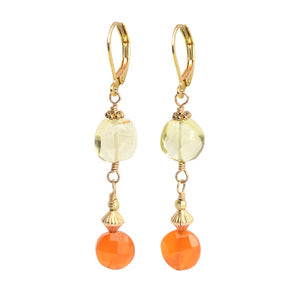 Carnelian Lemon Quartz Earrings