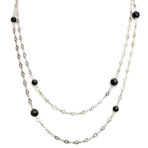 Long Onyx Silver Plated Necklace - 50""