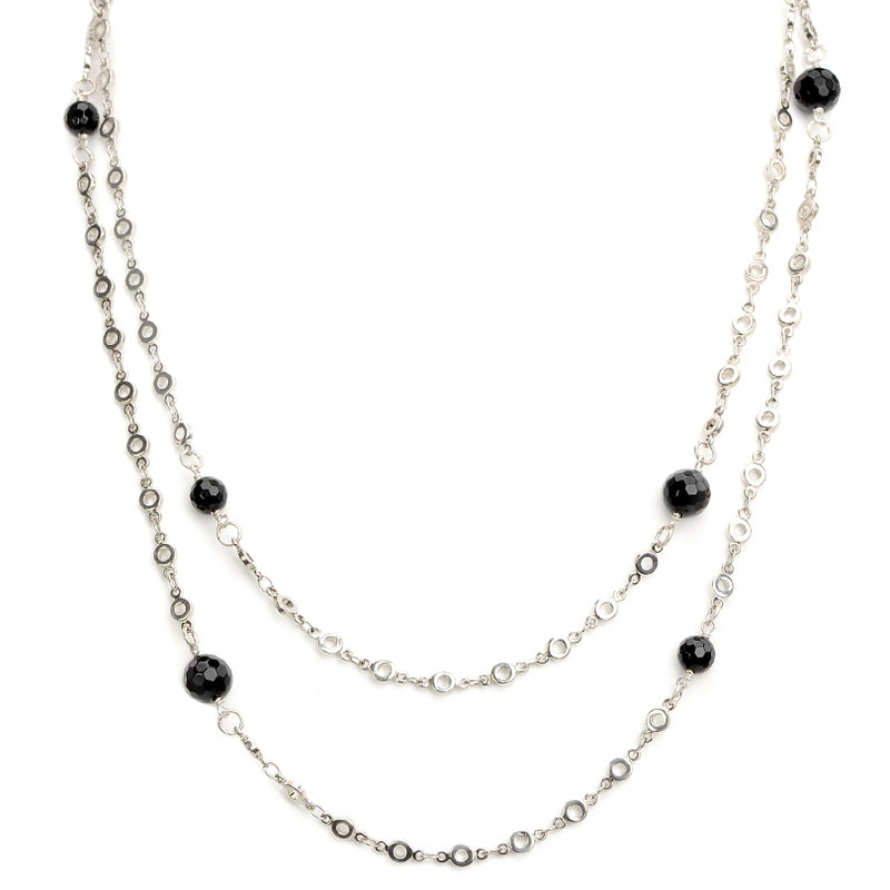 Long Onyx Silver Plated Necklace - 50