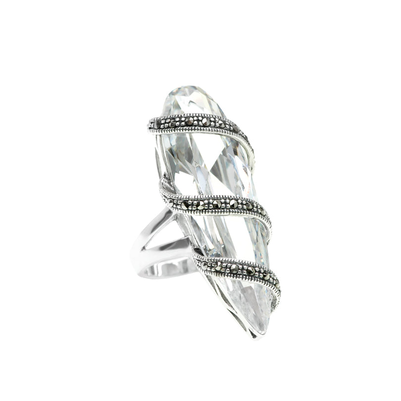 Shimmering Ice Cubic Zirconia Large and Long Sterling Silver Marcasite Ring