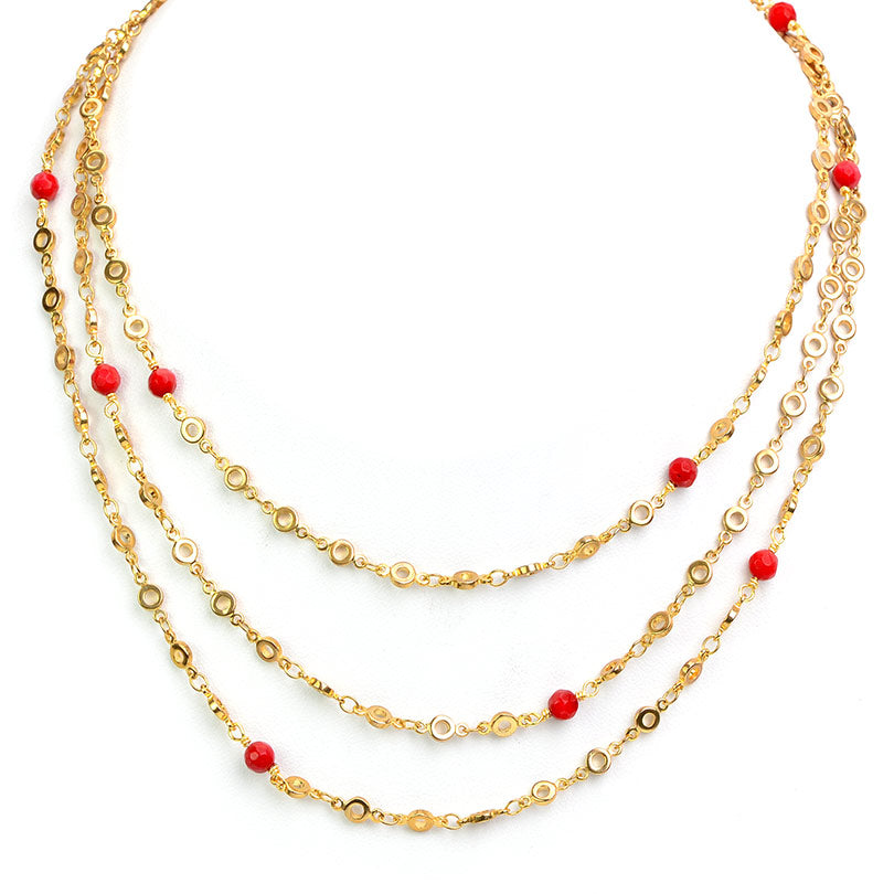 Gold Plated Chain Coral Ball Necklace 50""