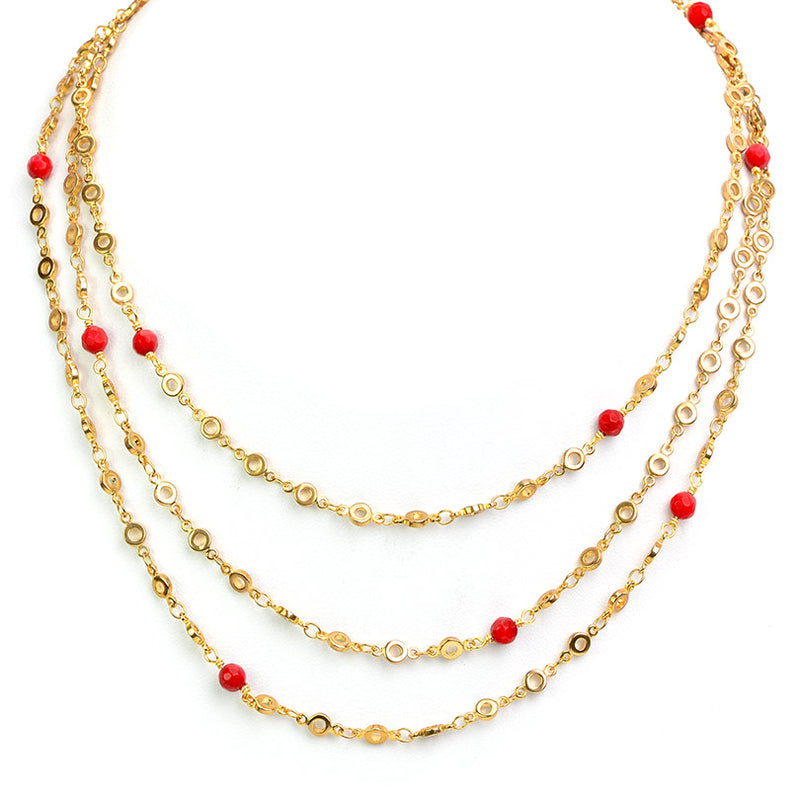 Gold Plated Chain Coral Ball Necklace 50