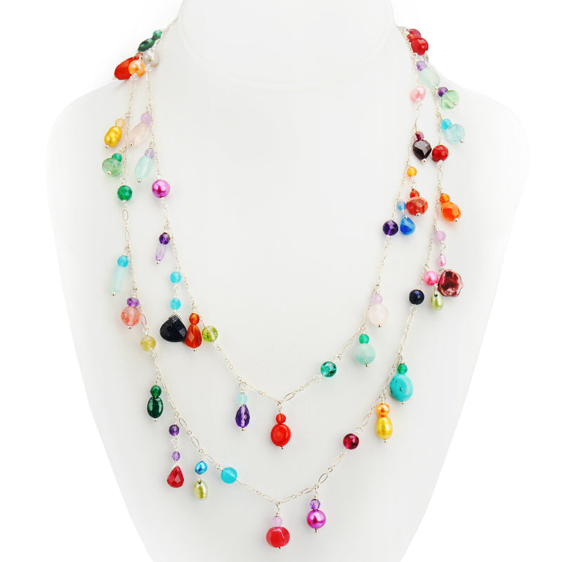 Gorgeous Vibrant Colors of Mixed Gemstones Happy Necklace - 41""