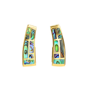Glamorous Lustrous Labyrinth Abalone Gold Plated Post Earrings