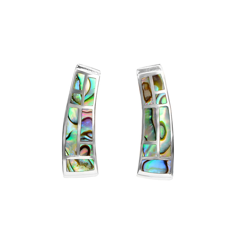 Brilliant Lustrous Labyrinth Abalone Sterling Silver Statement Earrings