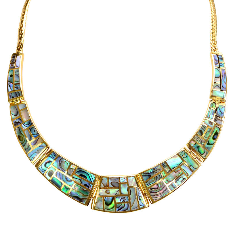 Lustrous Labyrinth Abalone Gold Plated Statement Necklace