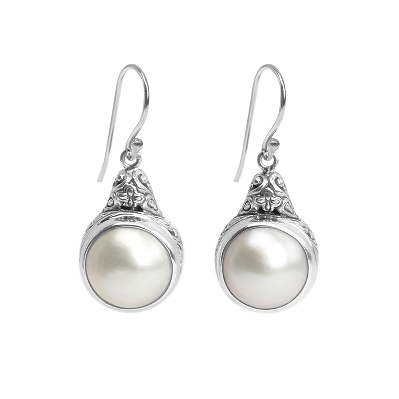 Balinese White Mabe Pearl Sterling Silver Hook Earrings