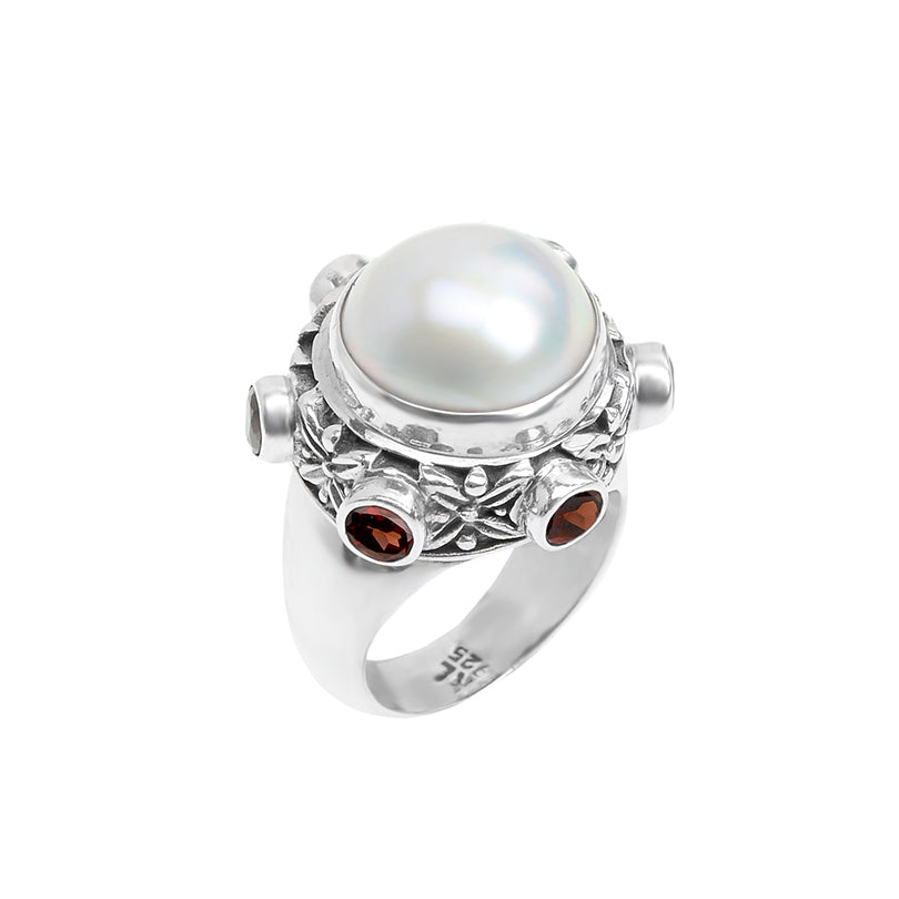 Gorgeous Mabe Pearl & Garnet Sterling Silver Ring