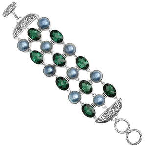 Magnificent Faceted Green Quartz and Dark  Mabe Pearls Sterling Silver Statement Bracelet
