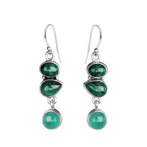 Deep, Rich Colors of Malachite and Green Agate Sterling Silver Earrings