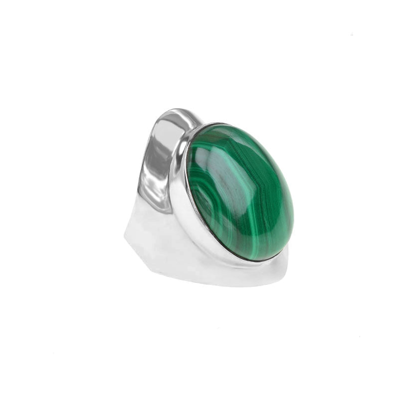 Magnificent Shade of Lush Green Malachite Sterling Silver Statement Ring