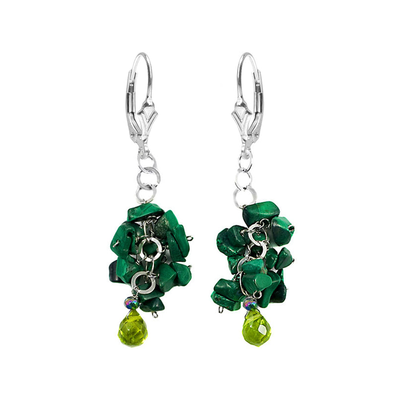 Clusters of Malachite and Crystal Sterling Silver Dangle Lever-Back Earrings