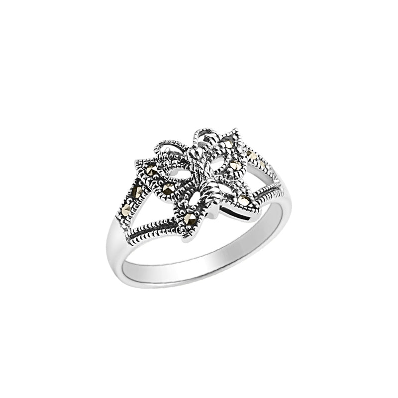 Delicate Sterling Silver Marcasite Butterfly Ring