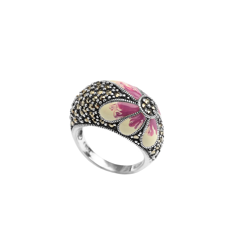 Beautiful Flower Marcasite Sterling Silver Ring