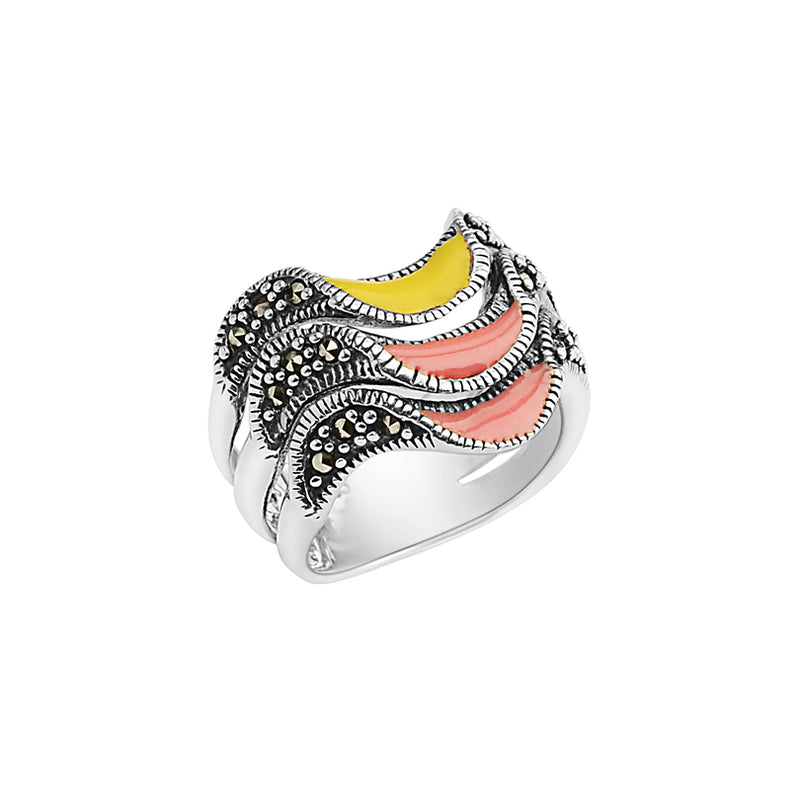 Tri-Color Layered Enamel and Marcasite Sterling Silver Ring
