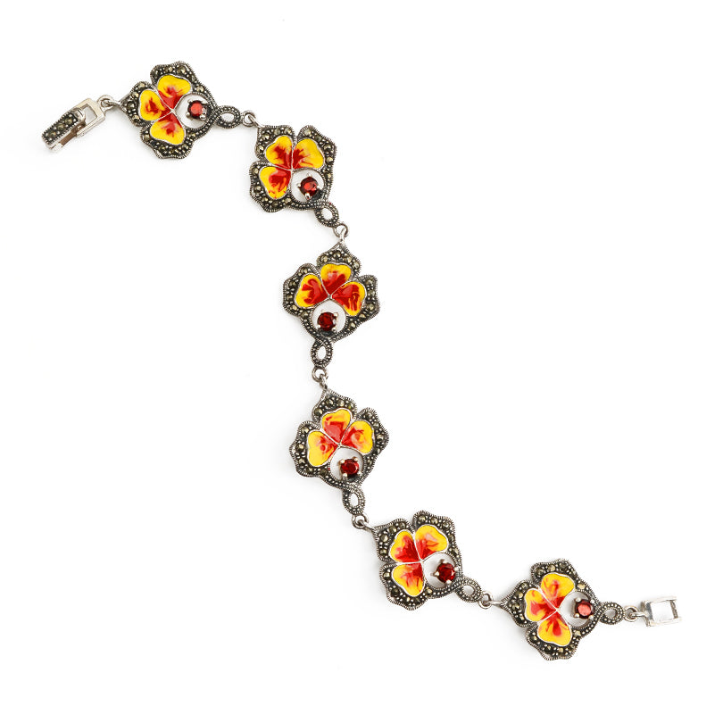 Fiery Red and Yellow Marcasite Enamel Leaf Bracelet with Garnet