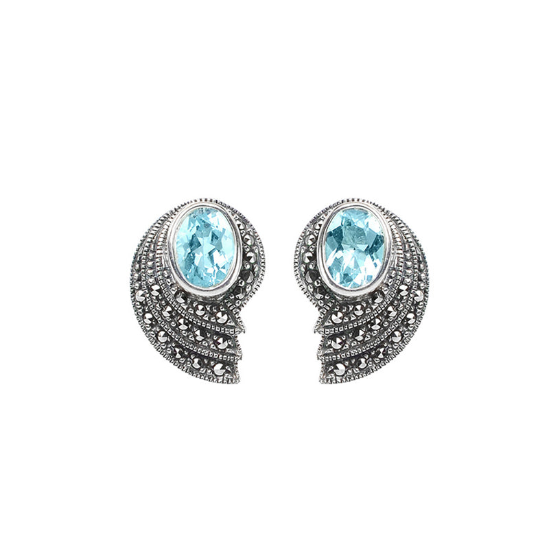 Art Deco Design Marcasite Earrings with Blue  Topaz or Garnet Sterling Silver Statement Earrings