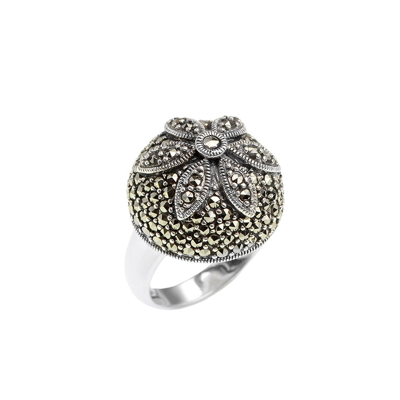 Pretty Sparkling Daisy Marcasite Sterling Silver Ring