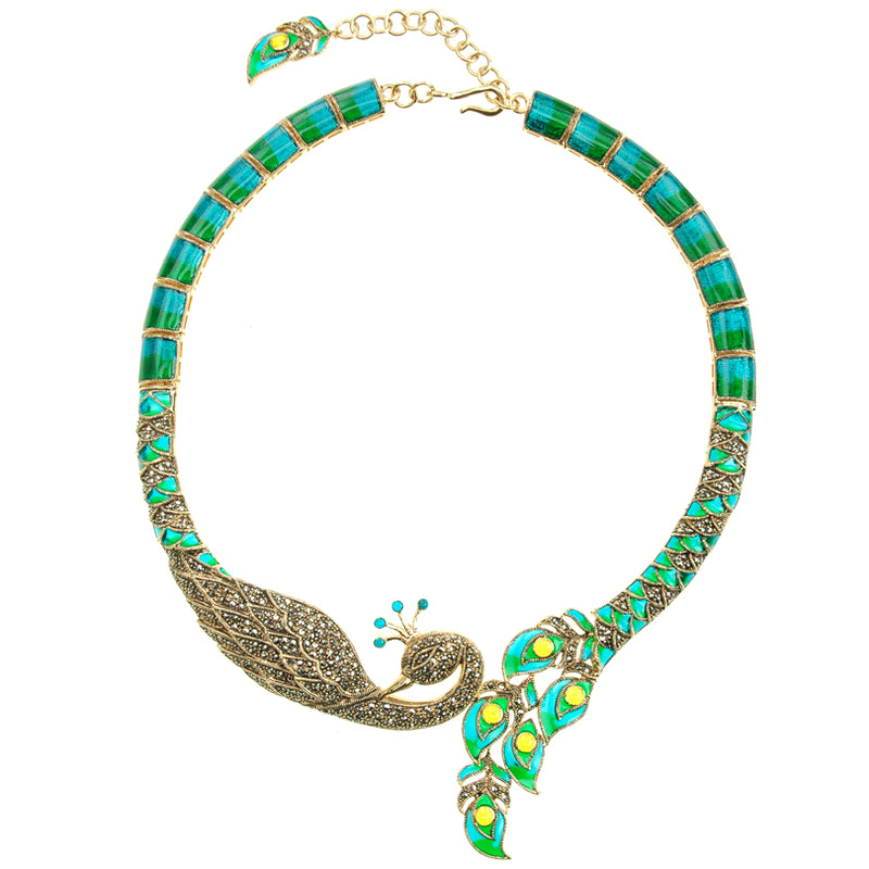 Golden Marcasite & Aquamarine Enamel Imperial Peacock Necklace