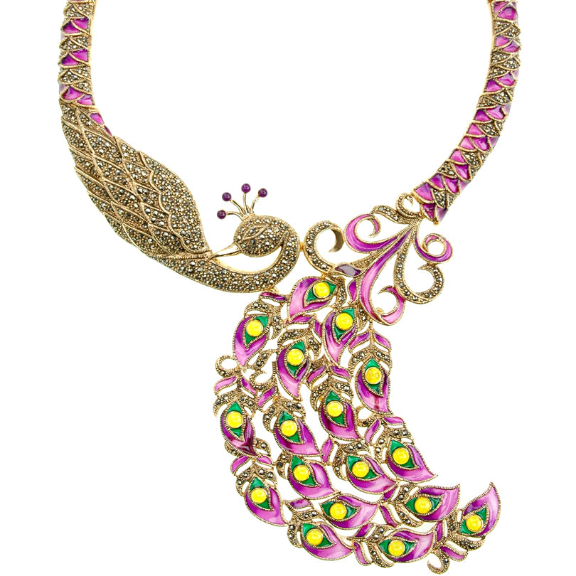 Magnificent Majestic Rich Purple Peacock with Sparkling Marcasite 14kt Gold Plated Statement Necklace