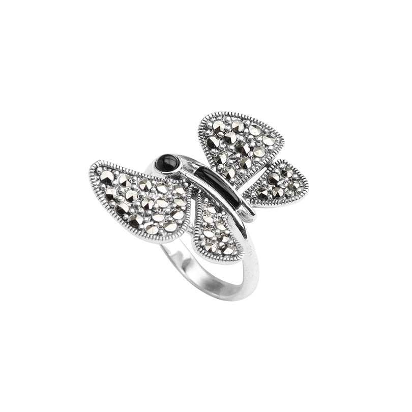 Sterling Silver Marcasite and Onyx Butterfly Ring
