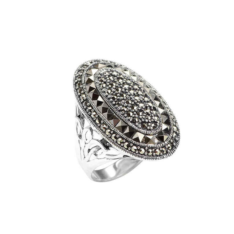 Absolutely Stunning Sterling Silver Marcasite Statement Ring