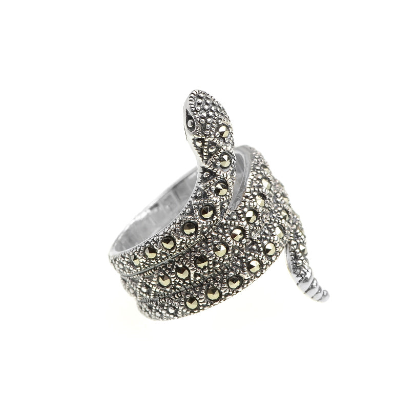 Unique Rattlesnake Design Marcasite Sterling Silver Ring