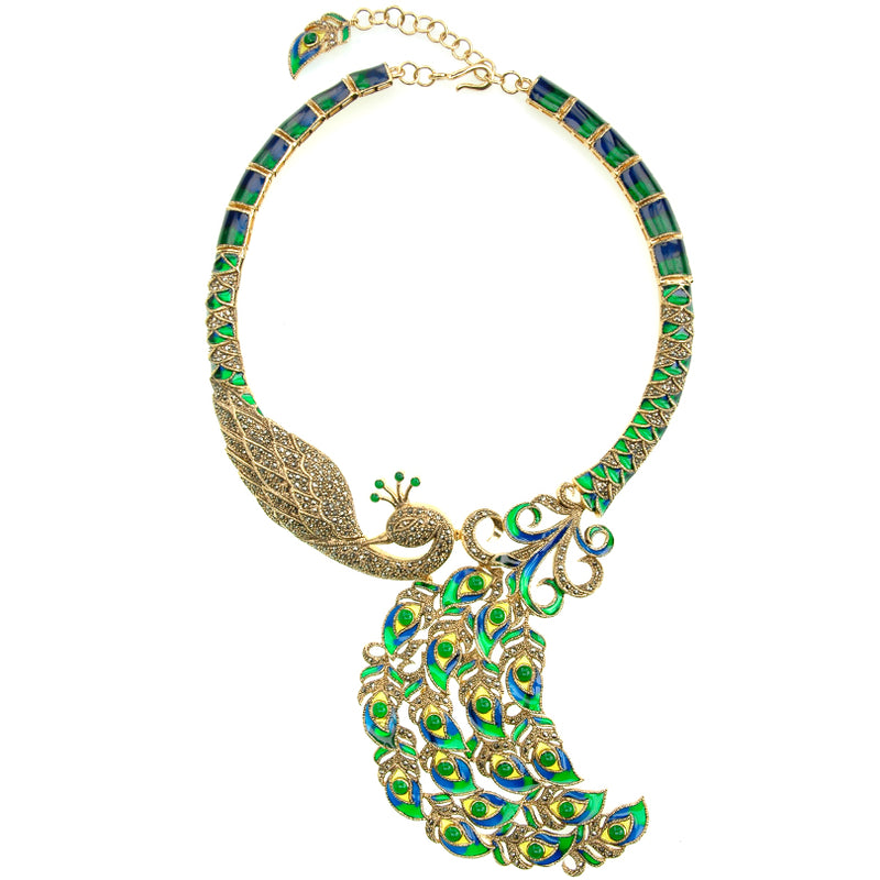 Majestic Peacock Gold Plated Marcasite & Green-Blue Enamel Necklace