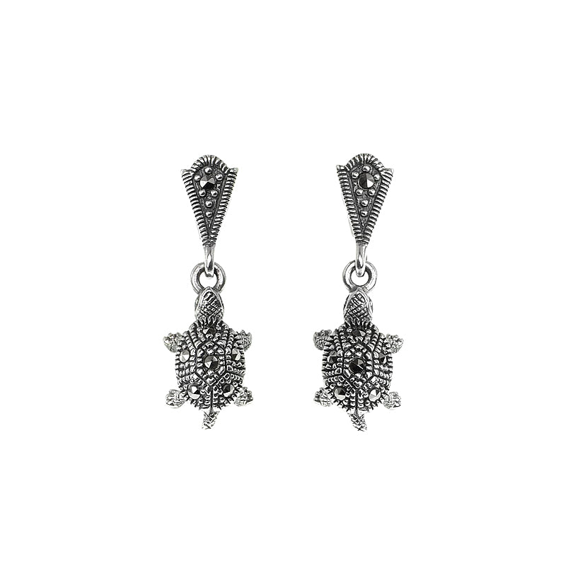 Petite, Adorable Sterling Silver Marcasite Turtle Earrings