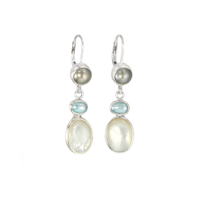 Glamorous Mermaid's Envy Mother of Pearl and Blue Fresh Water Pearl Sterling Silver Earrings