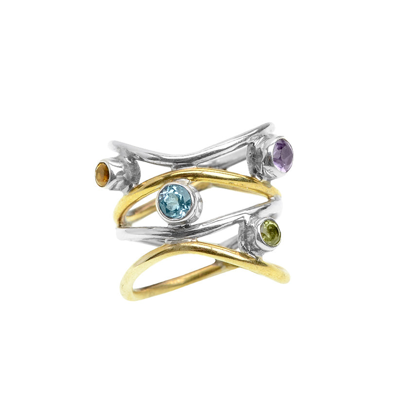 Exquisite Mixed Gemstones Sterling Silver Ring