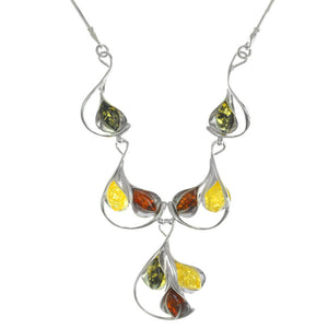 Exquisite Tulip Embrace Mixed Colors of  Baltic Amber Sterling Silver Necklace