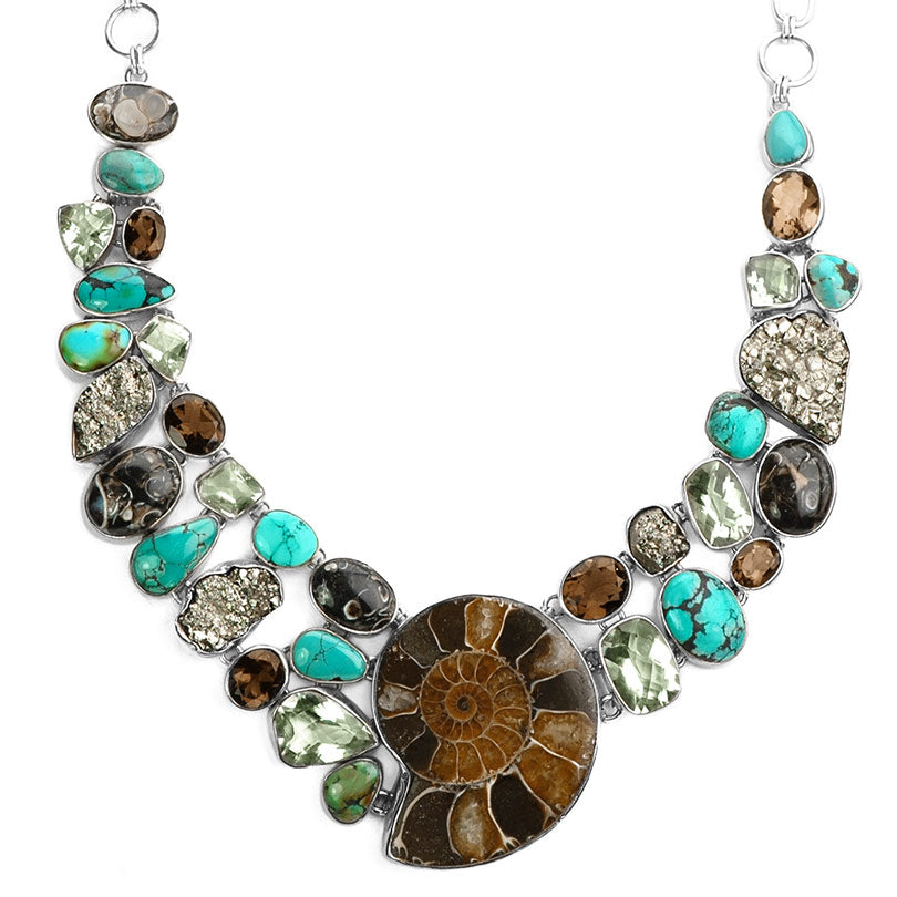 Gorgeous Ammonite, Turquoise, Green Amethyst and Mixed Gemstones Statement Necklace