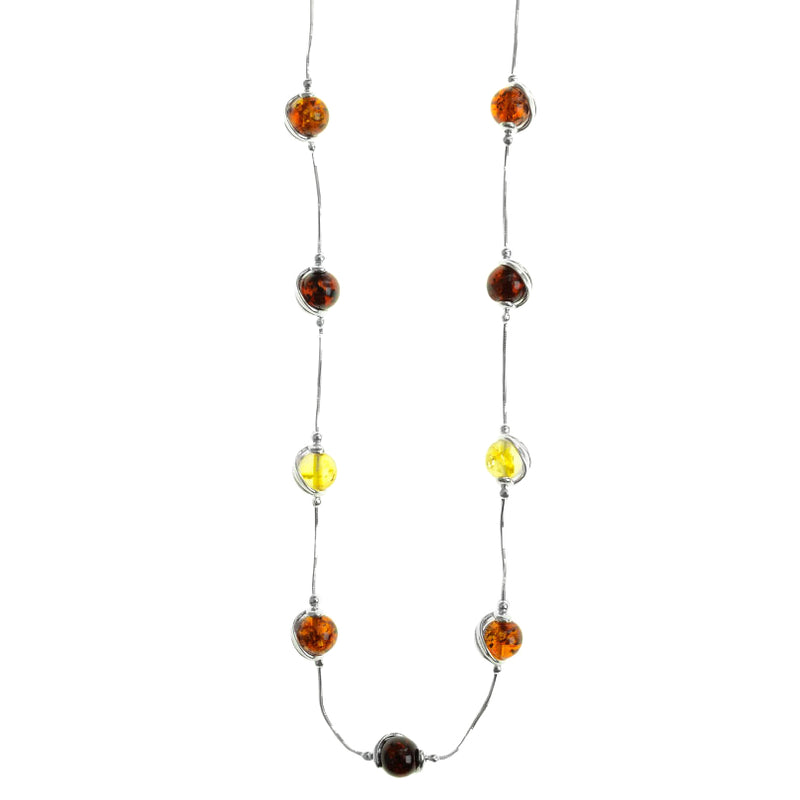 Elegant Mixed Baltic Amber Sterling Silver Necklace