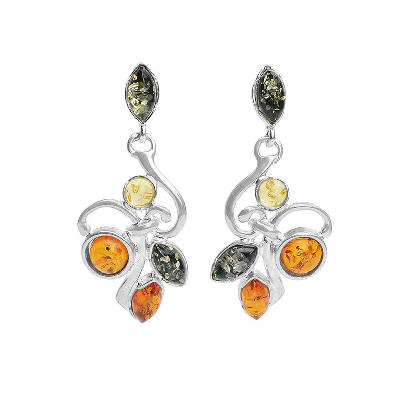 Unique, Vintage Inspired Mixed Baltic Amber Sterling Silver Earrings