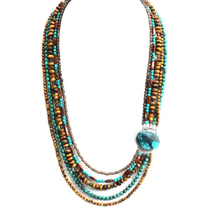 Stunning Layered Turquoise and Tiger's Eye Multi-Strand Necklace different lengths available