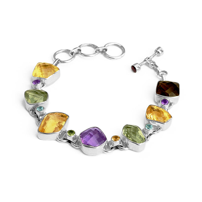 Dazzling Gemstone Bracelet with Citrine, Green Amethyst, Smoky Quartz and Amethyst